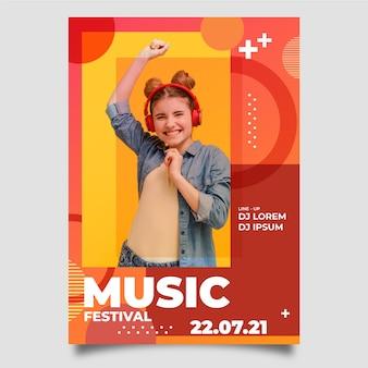 Affiche de musique abstraite avec photo