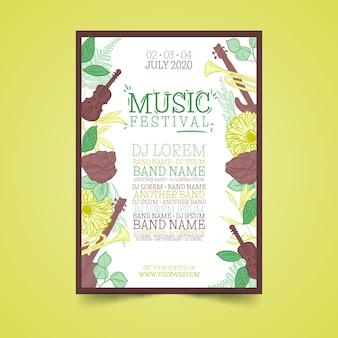 Affiche de musique colorée tropicale