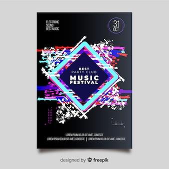 Affiche de musique électronique modèle effet glitch