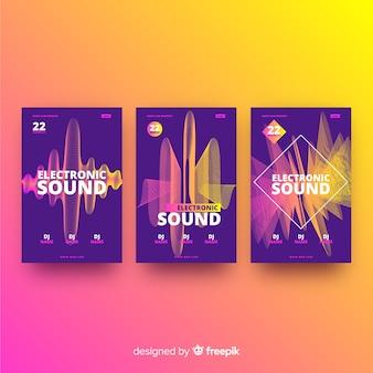 Affiche de musique électronique wave sound