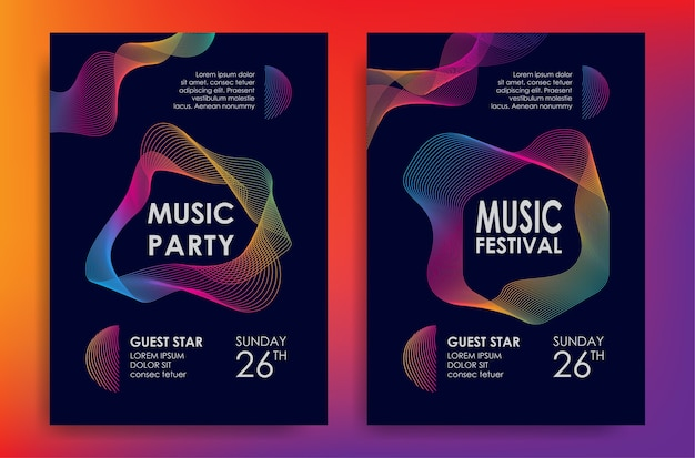 Affiche de musique avec élément d'ondes colorées
