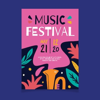 Affiche de musique avec des feuilles