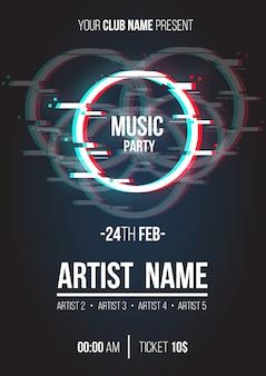 Affiche de musique moderne avec cercle glitch
