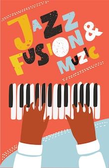 Affiche de musique moderne de concept pour la session de jazz de partie de concert de piano d'été