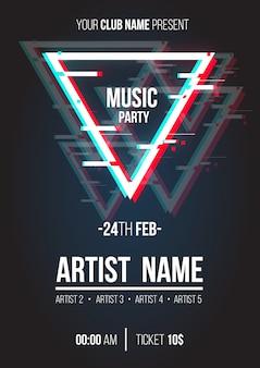 Affiche de musique moderne avec triangle glitch