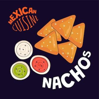 Affiche de nachos mexicains mexique restauration rapide café ou restaurant bannière publicitaire latino-américain