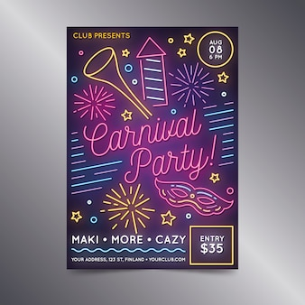Affiche néon de fête de carnaval avec feux d'artifice