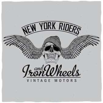 Affiche de new york riders avec crâne en illustration de chapeau et ailes