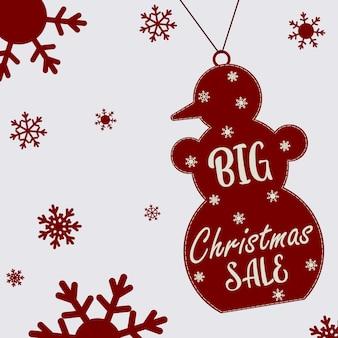 Affiche de noël sur une grande vente de noël. bonhomme de neige avec texte et flocons de neige. dépliant, affiche.