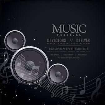 Affiche noire de haut-parleurs de musique