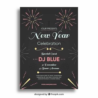 Affiche noire pour la fête du nouvel an avec des feux d'artifice simples
