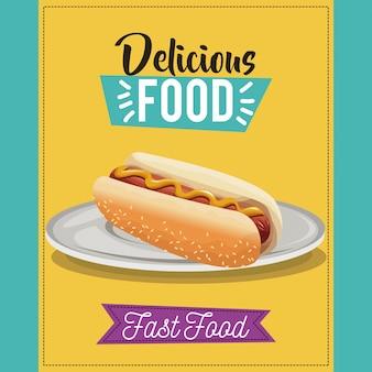 Affiche de nourriture délicieuse. plat de menu de restauration rapide de hot-dog