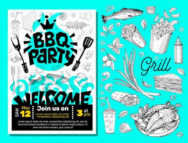 Affiche de nourriture de soirée barbecue.