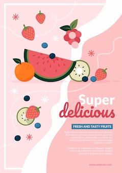 Affiche de nourriture super délicieuse au design plat