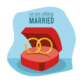 Affiche de nous nous marions avec des bagues de fiançailles