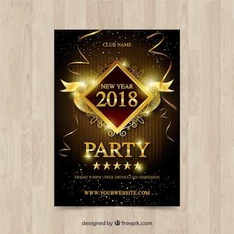 Affiche de nouvel an d'or