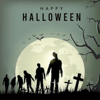 Affiche de la nuit effrayante d'halloween, silhouette de zombies marchant, illustration vectorielle