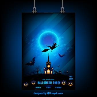 Affiche de nuit d'halloween avec une sorcière et maison hantée
