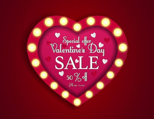 Affiche d'offre de vente spéciale saint valentin. jusqu'à 50 pour cent de réduction
