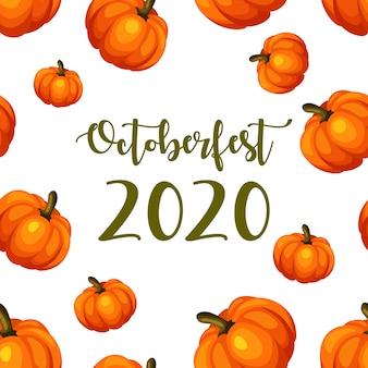 Affiche de l'oktoberfest 2020. citrouilles incroyables.
