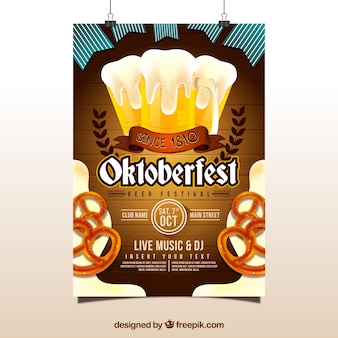 Affiche d'oktoberfest avec de la bière et des bretzels