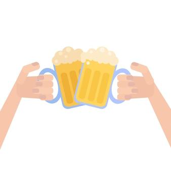 Affiche oktoberfest avec de la bière à la main