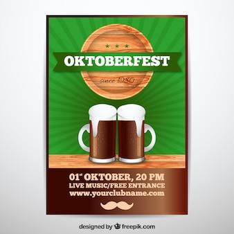 Affiche oktoberfest avec bière noire