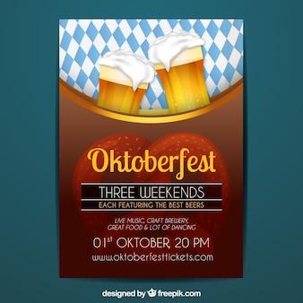 Affiche d'oktoberfest avec de la bière