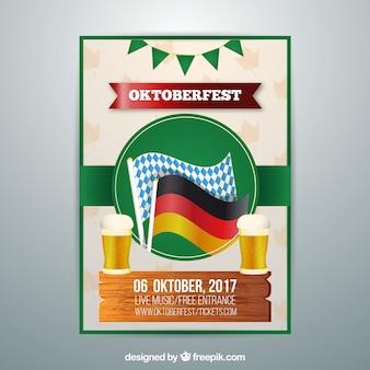 Affiche d'oktoberfest avec des drapeaux