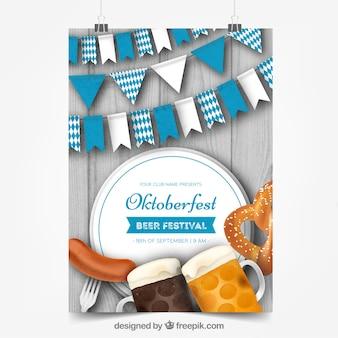 L'affiche d'oktoberfest avec de la nourriture, de la bière et des drapeaux