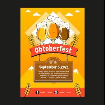 Affiche d'oktoberfest de style dessiné à la main