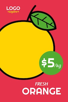 Affiche orange fraîche en stye design plat