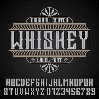 Affiche originale de whisky avec police d'étiquette dans un style vintage sur fond noir