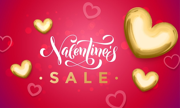 Affiche de paillettes de coeur d'or de vente de saint valentin