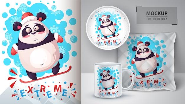 Affiche de panda de snowboard et merchandising