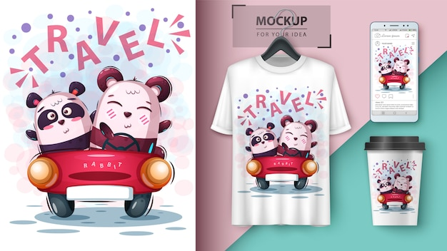 Affiche de panda de voyage et merchandising