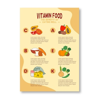 Affiche de papeterie d'infographie alimentaire vitamine