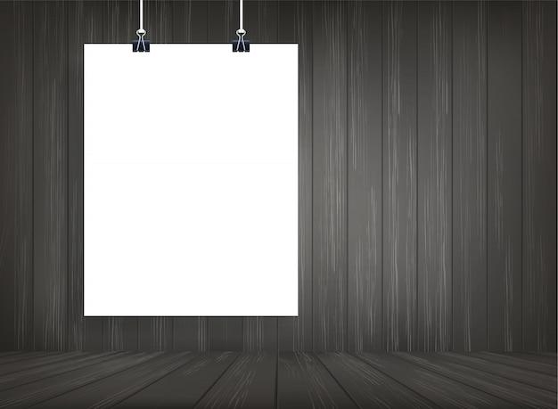 Affiche en papier blanc suspendu avec fond d'espace de pièce en bois.