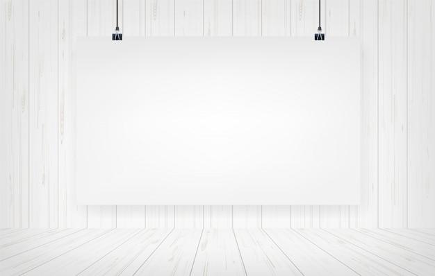 Affiche en papier blanc suspendu avec fond de mur en bois.