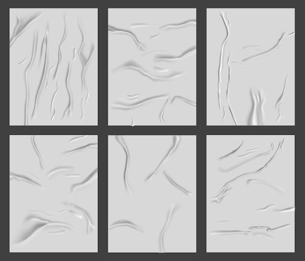 Affiche en papier collé. surface de papier froissé humide réaliste, feuilles de papier de texture de rides froissées