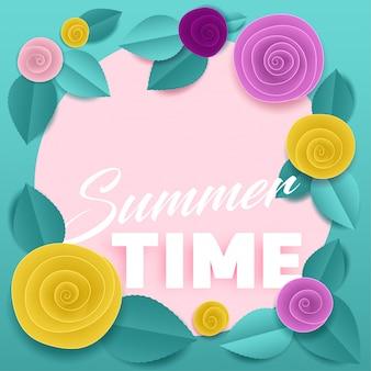 Affiche papier floral à la menthe heure d'été