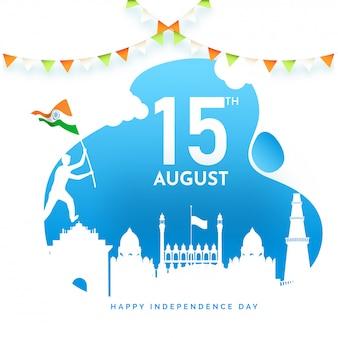 Affiche ou papier peint avec la silhouette des monuments célèbres de l'inde