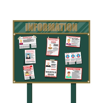 Affiche papier personne recherchée. annonce manquante