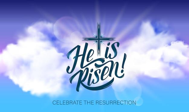 Affiche de pâques avec lettrage il est ressuscité