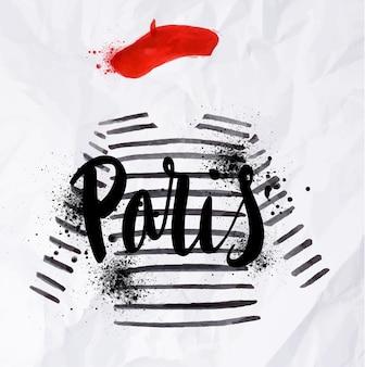 Affiche parisienne au béret rouge