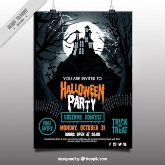 Affiche de partie de halloween avec maison hantée