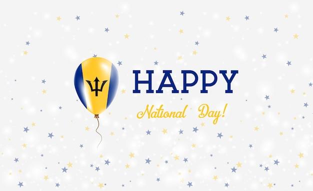 Affiche patriotique de la fête nationale de la barbade. ballon volant en caoutchouc aux couleurs du drapeau barbadien. arrière-plan de la fête nationale de la barbade avec ballon, confettis, étoiles, bokeh et étincelles.