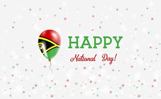 Affiche patriotique de la fête nationale du vanuatu. ballon volant en caoutchouc aux couleurs du drapeau ni-vanuatu. fond de la fête nationale du vanuatu avec ballon, confettis, étoiles, bokeh et étincelles.