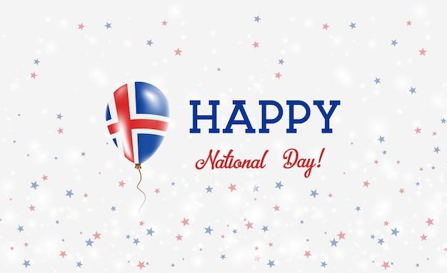 Affiche patriotique de la fête nationale islandaise. ballon volant en caoutchouc aux couleurs du drapeau islandais. fond de la fête nationale de l'islande avec ballon, confettis, étoiles, bokeh et étincelles.