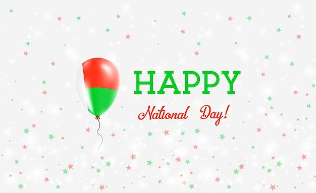 Affiche patriotique de la fête nationale de madagascar. ballon volant en caoutchouc aux couleurs du drapeau malgache. fond de fête nationale de madagascar avec ballon, confettis, étoiles, bokeh et étincelles.